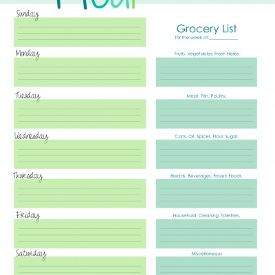 Free Weekly Meal/Menu Planner