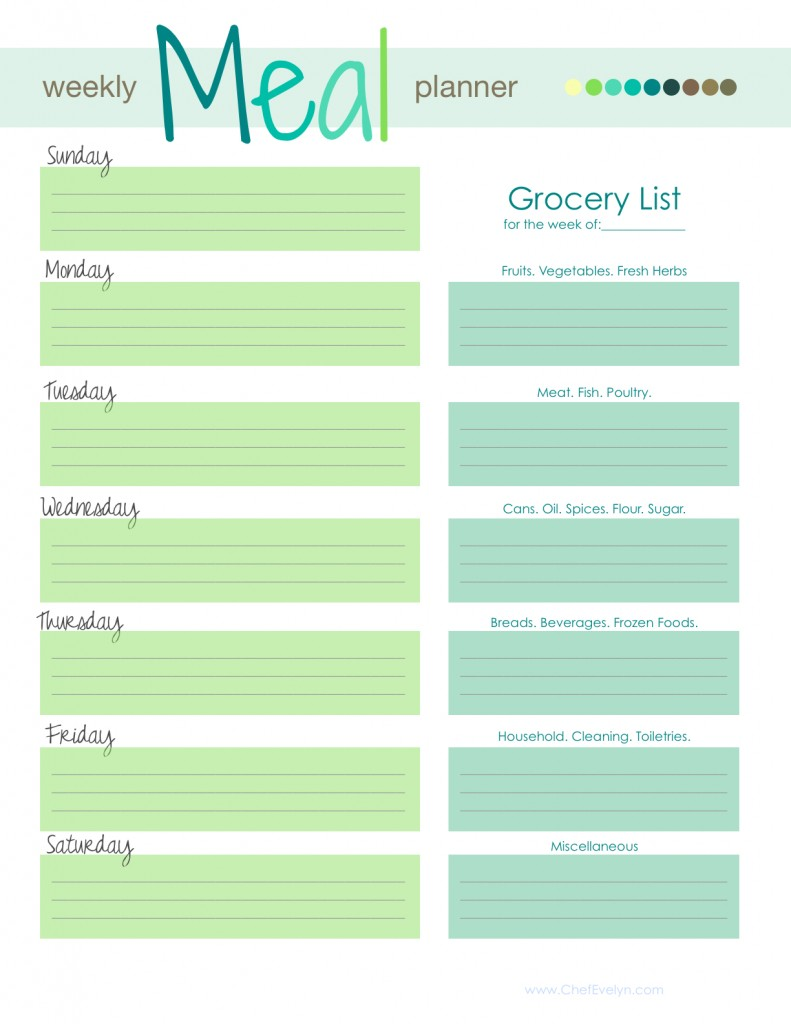 Weekly meal planner with grocery list template zrom maxwellsz
