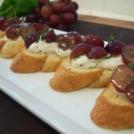 Chefevelyn.com - Minted Grape Crostini, Grape Bruschetta